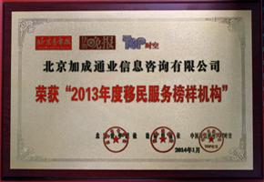 2013年度移民服务榜样机构